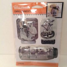 Halloween ghosts in mason jar embellishments graveyard pumpkin crafts http://stores.ebay.com/tovascollectibles