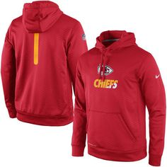 272869264 Men s Kansas City Chiefs Nike Red Sideline Fleece Therma-FIT Pullover Hoodie