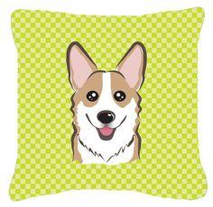 Checkerboard Corgi Indoor/Outdoor Throw Pillow