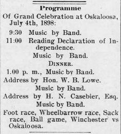 The Oskaloosa Independent of Oskaloosa, Kansas, on 24 June, 24, 1898 | Victorian America Celebrates Independence Day | KristinHolt.com