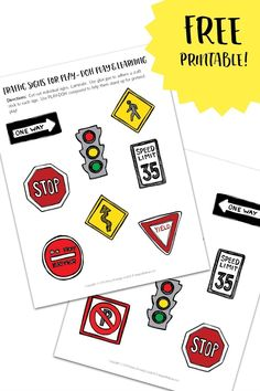 Preschoolers can learn so much from PLAY-DOH Towns play. Add even more learning - like street safety - with these free Printable Traffic Signs!