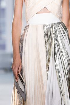 Proenza Schouler Spring 2014 - long pleated skirt, floaty fabrics, soft nude peach & metallics