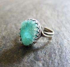 Aqua Ring Mint Druzy Ring Silver Gold Brass Adjustable Turquoise Ring Gemstone Ring Aquamarine  Teal Exotic  LOTR Arwen Ice Berg