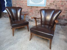1950 two leather cocktail chairs #cocktail #curvy #leather #chair #pair #nicetolookat #vintage #retro #euvintage