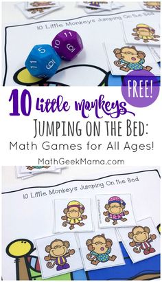 "This super simple printable game can be used along with the book or rhyme, ""Ten Little Monkeys Jumping on the Bed."" The great thing about this game is that is can be used and adapted for nearly any age! So all your kids can practice their math skills together! #easymathgames #mathforallages #tenlittlemonkeys #funmathpractice #freemathresources #monkeymath @mathgeekmama"
