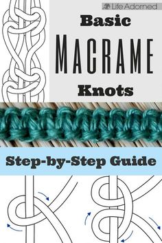 Interested in learning the basics of macramé? Here's an illustrated guide of the most common knots used in macramé. knots Basic Macramé Knots: Step by Step Guide · Life Adorned Art Macramé, Knots Guide, Macrame Wall Hanging Diy, Micro Macramé, The Knot, Macrame Bracelets, Loom Bracelets, Friendship Bracelets, Macrame Bracelet Patterns