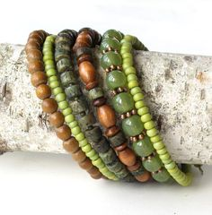 Beaded bracelet stack  lime green & brown stacking by dalystudios