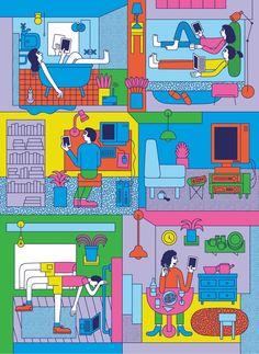 A selection of work by London-based illustrator Martina Paukova. People Illustration, Line Illustration, Graphic Design Illustration, Pop Illustrations, Pop Art, Hippie Art, Visual Diary, Selling Art, Graphic Design Inspiration