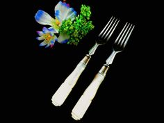 2 Victorian forks mother of pearl silver plated by Taingtiques