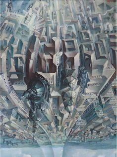 """Tullio Crali, """"Upside Down Loop (Death Loop) (Granvolta rovesciata [Giro della morte])"""" (1938). Oil on panel, 80 x 60 cm. Collection of Luce Marinetti, Rome © 2014 Artists Rights Society (ARS), New York/SIAE, Rome. Photo: Studio Boys, Rome"""