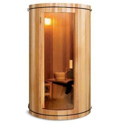 The Two Person Home Sauna. I would be okay with this sauna in our house. Saunas, Sauna Hammam, Hammacher Schlemmer, Cool Technology, My Dream Home, Future House, Tiny House, Home Improvement, Household