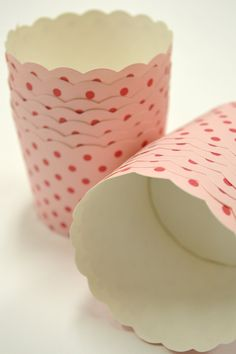 Pink Polka Dots Nut or Portion Paper Baking Cups with Scalloped Tops - set of 24 via Etsy