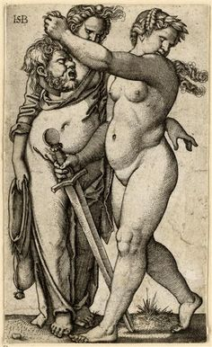 Judith mit dem Haupt des Holofernes;  Beham, Hans Sebald (1500-1550) | Hersteller um 1531/35 Kupferstich-Kabinett. Inventory Number:  A 2702. Material and Technique:  Kupferstich, 1. Zustand. Measurement:  113 x 68 mm (beschnitten). Object Description: Druckgraphik. Staatliche Kunstsammlungen Dresden