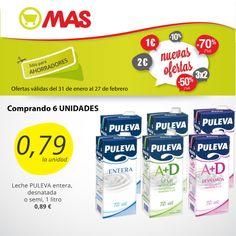 Hasta el 27 de febrero de 2014, si te llevas 6 unidades de leche Puleva (entera, semi o desnatada), cada litro costará sólo 0,79 €. Aún estás a tiempo de aprovechar esta #oferta!