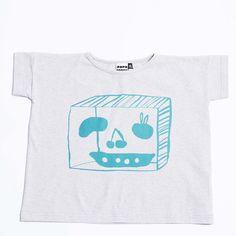 Papu Laatikko T Shirt Grey/Viridian Print - Kids