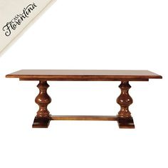 "Ballard Designs - Casa Florentina Tarvine Double Pedestal Dining Table.  Choice of 15 hand applied finishes. 78 1/4""W x 41 1/4""D.  Has one leaf 29 1/8""W."