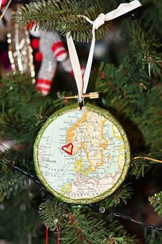 How to make a personalized Christmas ornament by embroidering a map of your favorite place. These would make a lovely gift too. #mapcrafts #embroidery All Things Christmas, Christmas Crafts, Christmas Decorations, Christmas Ornaments, Christmas Ideas, Beautiful Butterfly Images, Printable Fabric, Map Fabric, Map Crafts