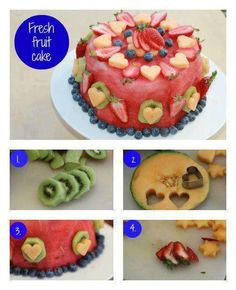 """seedless watermelon  kiwifruit  blueberries  strawberries    Slice a cross section of whole seedless watermelon around 10-12cm in thickness. Trim the green skin off all the way around so you have straight sides. Place on a serving platter. Peel kiwifruit and slice crossways.    : Cut 5mm cross sections of rockmelon and use cookie cutters in a small star and heart shape to cut pieces out. Place around the sides of the """"cake"""" using toothpicks to anchor these in."""
