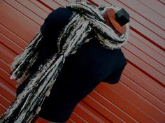 Fringe O Rama Scarf Champagne Brown and Black by CricketsCreations, 45.00