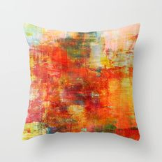 AUTUMN HARVEST - Fall Colorful Abstract Textural Painting Warm Red Orange Yellow Green Thanksgiving Throw Pillow
