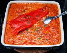 Albanian Fergese. Albanian pepper sauce with cheese. Click for recipe.