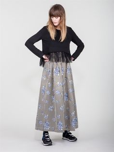 "Naughty Dog FW1617 blouse with fringes and long ""autumn flowers"" skirt!"