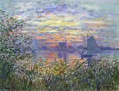 """wonderingaboutitall: """" Sunset On The Seine - Claude Monet """""""