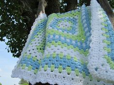 Granny Square Afghan Handmade Baby Blanket by DonnasPinsandNeedles