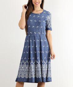 White & Blue Geometric A-Line Dress