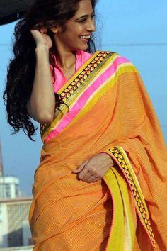 Orange Saree pink border Pakistani Outfits, Indian Outfits, Orange Saree, Indian Fabric, Indian Attire, Saree Styles, Saree Blouse Designs, Beautiful Saree, Saree Collection