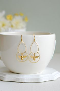 Gold Bee Earrings by LeChaim