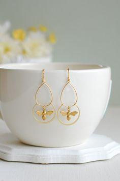 Gold Bee Earrings by LeChaim