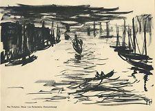 H. Max Pechstein  Original-Lithographie Nebel (Neckarhafen) 1912