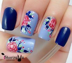 The Blue water colored Nail Art Design. This very pretty blue floral nail art design iis going to be perfect for your denim days. The colorful spray over the blue base is pretty amazing. Fabulous Nails, Gorgeous Nails, Pretty Nails, Flower Nail Designs, Nail Art Designs, Nails Design, Jolie Nail Art, Floral Nail Art, Fancy Nails