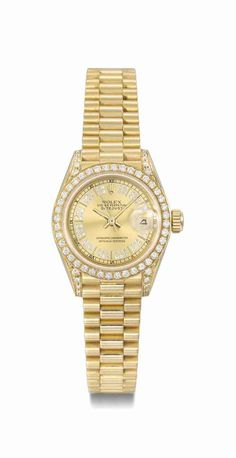 Rolex. An attractive and elegant 18K gold and diamond wristwatch with date and bracelet, circa 1989 #ChristiesWatches