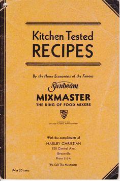 Vintage 1933 SUNBEAM MIXMASTER Cookbook Brochure Kitchen Tested Recipes - SOLD