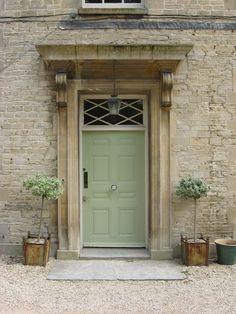 Love the green door Front Door Paint Colors, Paint Colors For Home, Cotswold House, Best Front Doors, House With Porch, Door Accessories, Door Furniture, Painted Doors, Classic House