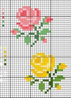 Rosas hermosas para decorar en punto de cruz | Punto de cruz - Colección de patrones punto de cruz gratis.