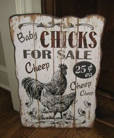 CHICKEN Chicks For SALE Wood Wall SIGN*Primitive/French Country Rooster Decor #NaivePrimitive