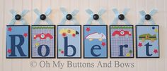 Hanging Name Letters  Nursery Decor  Baby by OhMyButtonsAndBows, $22.00