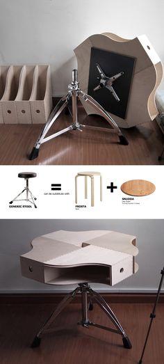 Mesita de café con taburete y archivadores de Ikea - Muy Ingenioso
