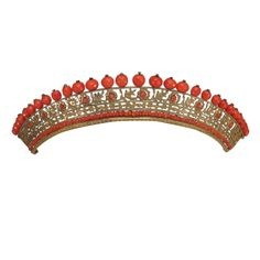 "Empire Tiara: ca. early 1800's, French, coral and gilt. ""Gilded floral filigree brass is set with hand cut faceted natural coral beads"""
