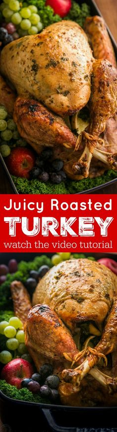 Making a juicy and flavorful Thanksgiving Turkey is easier than you think! A Video for how to make a Thanksgiving Turkey Recipe that your guests will love! Thanksgiving Turkey, Thanksgiving Recipes, Holiday Recipes, Great Recipes, Fall Recipes, Dinner Recipes, Favorite Recipes, Holiday Foods, Holiday Dinner