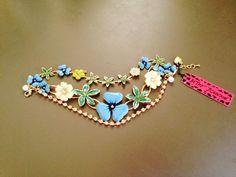 Betsey Johnson Crystal Enamel Grass Flowers Charm Multi Chain Bracelets.#BJ609L #BetseyJohnson #Chain