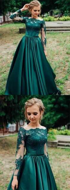 Gorgeous Dark Green Long Sleeves Lace Prom Dress,Green Evening Dress,Formal Dress - How To Be Trendy Prom Dress Two Piece, Dark Green Prom Dresses, Gorgeous Prom Dresses, Cute Prom Dresses, The Dress, Dress Long, Long Sleeve Formal Dress, Dark Green Long Dress, Wedding Dresses