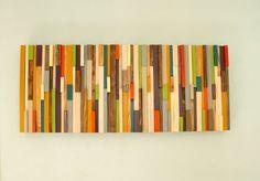 "Modern wood art, Mid century wood wall art, scuklpture 2015 colour trends, 20"" x 40"""