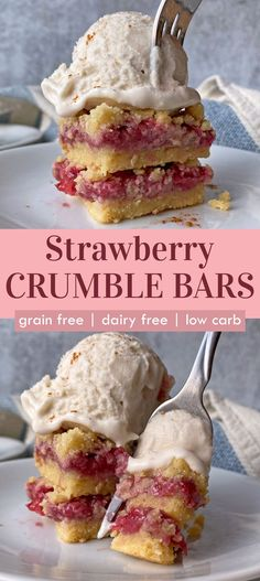These gluten free strawberry crumble bars have a soft shortbread crust and crumble and a strawberry filling made with frozen strawberries. This easy paleo dessert is grain free, dairy free and egg free and a great way to use frozen strawberries in a dessert. #crumblebars #strawberries #paleodessert #summerdessert Dairy Free Keto Recipes, Eggless Recipes, Egg Free Recipes, Gluten Free Desserts, Diabetic Recipes, Vegan Recipes, Paleo Honey, Paleo Vegan, Paleo Dessert