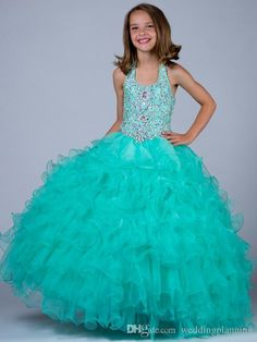 Fashion Ball Gown Girls Pageant Gowns With Beads Organza Tutu Pagent Dresses For Girls Crew Back Flower Girl Dress Long Hand Made Gown Toddler Dresses Cheap Flower Girl Dresses From Weddingplanning, $94.25| Dhgate.Com