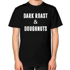 Dark Roast and Donuts Unisex T-Shirt (on man)