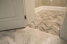 Herringbone pattern travertine floor by Terra Verre, via Flickr